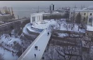 Заснеженная Одесса с высоты птичьего полета (ВИДЕО)