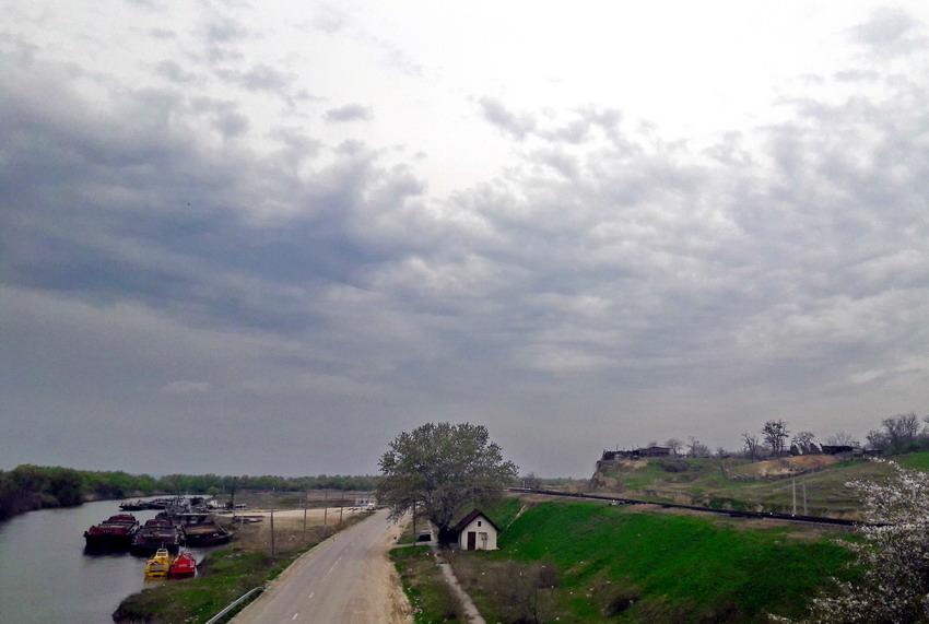 Погрузка зерна на берегу Прута около Джурджулешт