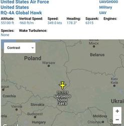 Американский беспилотник RQ-4 Global Hawk снова отслеживал ситуацию на границах с Россией и Беларусью