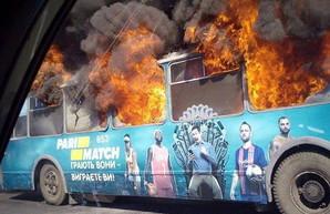 Еще один пожар: в Одессе сгорел старый троллейбус