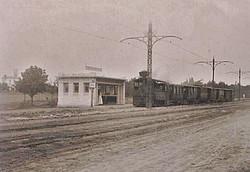 Павильон на 14-й станции Фонтана, 1918 год, запечатлен редкий момент - паровик ходит вместо трамвая,фото Криког Магникиан