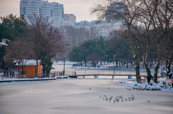 Озеро в Парке Победы покрылось льдом (ФОТО)