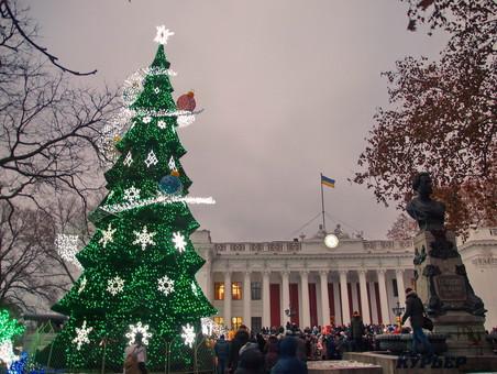 Завтра на Думской украсят гирляндами главную новогоднюю ёлку Одессы