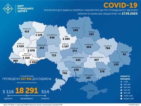 В Украине уже более 18 тысяч человек заболели коронавирусом