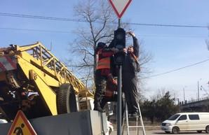 В Одессе установили новый светофор около Ивановского путепровода