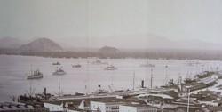 """Бразильский флот в порту Сантус. Видны оба броненосца типа """"Деодору"""" и другие корабли."""